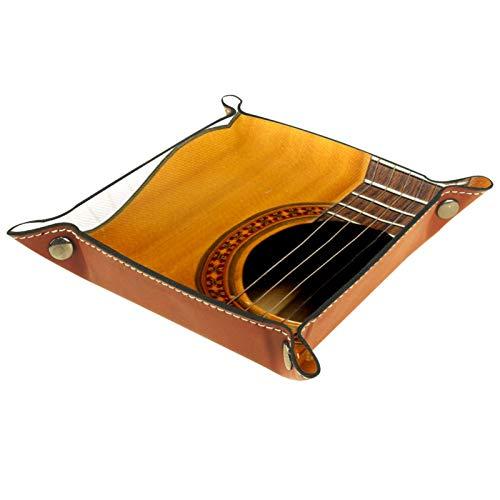 YATELI Kleine Aufbewahrungsbox,Herren-Valet-Tablett,Gitarren-Keyboard-Musik,Leder Catchall Organizer für Coin Box Key Schmuck