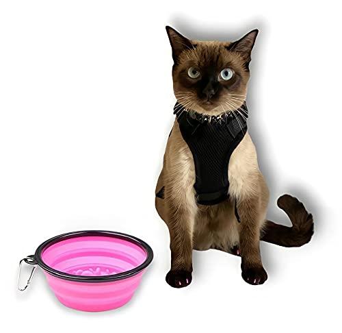 Desconocido Arnes para Gato Antiescape, Ajustable y Transpirable- Chaleco Reflectante de Entrenamiento para Gatos Pequeños y Medianos- Incluye Comedero Bebedero para Mascotas