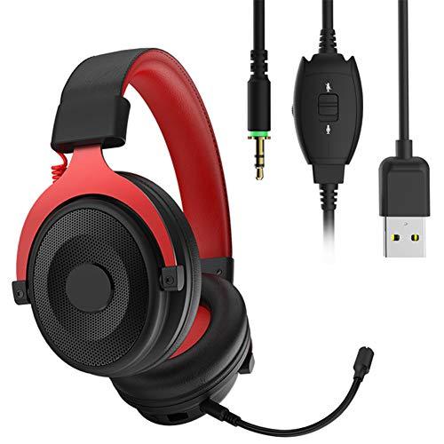 LTTC Auriculares para Juegos Auriculares con Cable de Unidad Grande de 3.5 mm, Auriculares con Sonido Envolvente 7.1, micrófono con reducción de Ruido, Compatible con PC, PS4