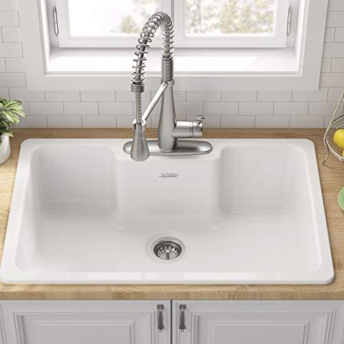 American Standard 77SB33223.308 Quince 33 x 22 Single Bowl Cast Iron Kitchen Sink- 3 Holes, Brilliant White