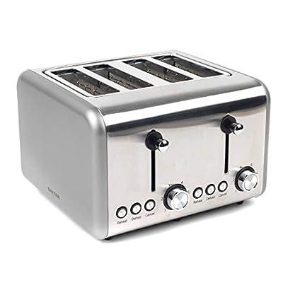 Salter EK3352TITANIUM Metallics Polaris 4-Slice Toaster, 1500 W, Titanium Edition | Variable Browning, Wider Slots, Defrost/Reheat Functions