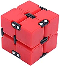 EDC Fidgeter Red Infinity Cube Fidget Toys. Prime Quality Fidget Cubes Gadgets for Adults and Children. Cool Stress Toy, Desk Accessories, Home Office Anxiety Sensory and Stress Relief Puzzle