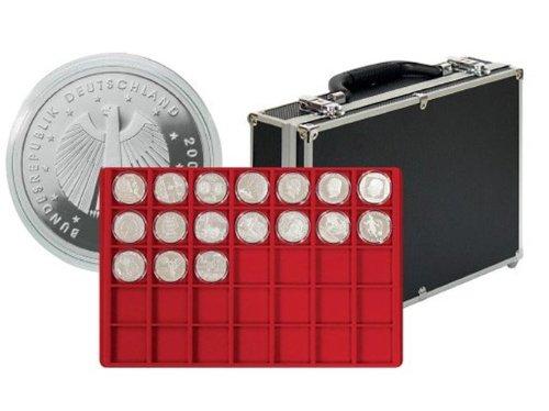 Lindner 2338-280 Grande valise numismatique de collection avec 8 plateaux pour 280 monnaies ou monnaies sous capsules jusqu'à 39 mm Ø