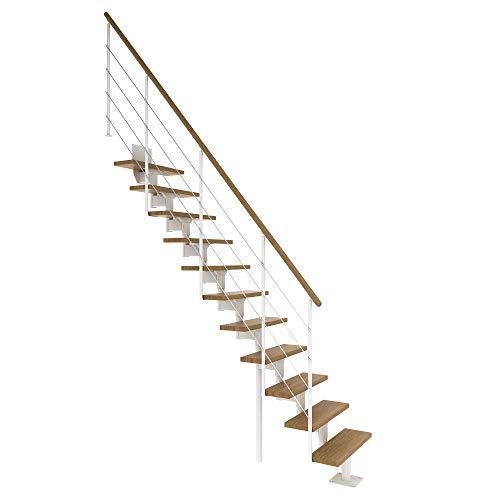 DOLLE Mittelholmtreppe Boston | 11 Stufen | Geschosshöhe 228 – 300 cm | Geradelaufend |Eiche, lackiert | Unterkonstruktion: Weiß (RAL 9016) | volle Stufen 70 cm | inkl. Geländer | Nebentreppe
