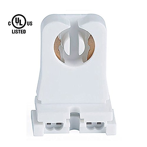 20-Pack KEDSUM UL Listed Non-shunted Turn-Type T8 Lamp Holder Tombstone Medium Bi-Pin Sockets for LED/Fluorescent Tube Light Replacements- Standard Profile