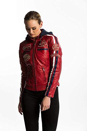 Urban Leather Chaqueta Moto Mujer de Cuero 58 LADIES'   Chaqueta Cuero Mujer   Cazadora Moto de Piel de Cordero   Armadura Removible para Espalda, Hombros y Codos Aprobada por la CE  Rojo Wax