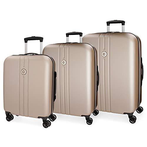 Movom Riga Juego de maletas Beige 55/70/80 cms Rígida ABS Cierre TSA 216L 4 Ruedas Dobles Extensible Equipaje de Mano