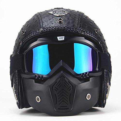Kinderfiets helm, Vier seizoenen vintage helm handgemaakte persoonlijkheid retro helm motorfiets auto lederen helm halve helm mannen en vrouwen