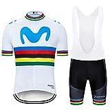 ZHLCYCL Traje Ciclismo Hombre, Maillot Ciclismo y Culotte Ciclismo con 5D Gel Pad para Verano Deportes al Aire Libre Ciclo Bicicleta, MOV-White, L
