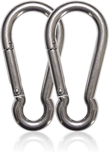 Maky Outdoors Heavy Duty Carabiners 4.7' 990LB Weight Capacity Per Clip - Strong Spring Action Snap Hook Attachment, Anti-Rust - for Hammocks, Punching Bags, Swing Chairs, Gym Equipment (2 Pieces)