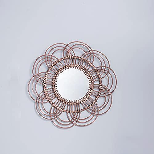 DSHBB Espejo de Pared Espejo Colgante Ratán Girasol Espejo de Pared Circular Círculo de Hierro Redondo Espejo de Pared Colgante de Metal Espejos de Maquillaje de Mimbre 48cm,Marrón