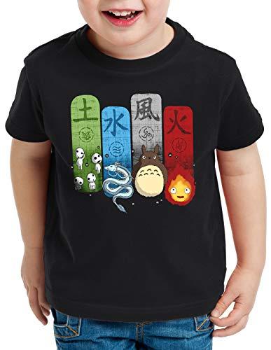style3 Ghibli Family T-Shirt für Kinder Totoro Mononoke Schloss Chihiro Film, Farbe:Schwarz, Größe:140