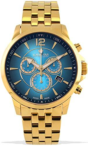LOUIS XVI Herren-Armbanduhr Athos Stahlband Gold Blau Fume Chronograph Analog Quarz Edelstahl 1055