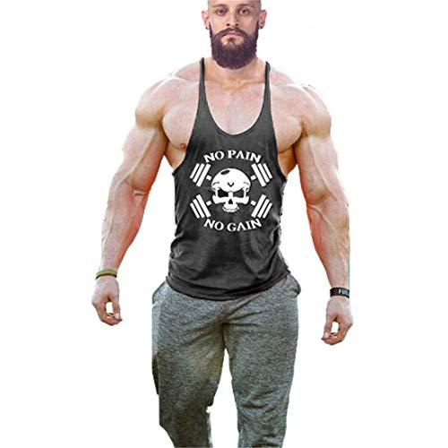 YeeHoo Hombres Camisetas de Gym Culturismo Muscle No Pain No Gain Tanque de la Manera Tapas del elástico