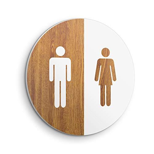 DON LETRA Señal WC Servicio para Puerta y Pared de Baño - 20 x 20 x 1 cm - Uso Interior y Exterior - Placa PVC con Pegatina, PVC-SE-006