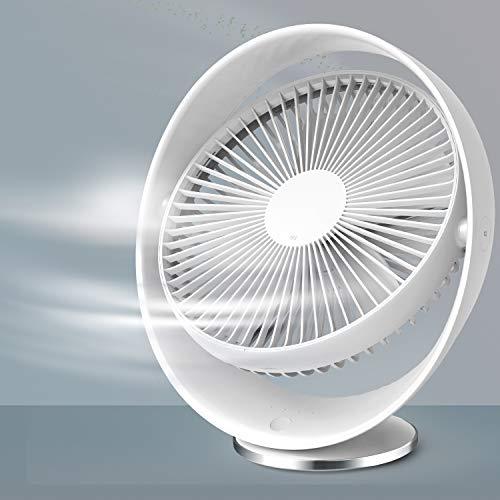 RATEL Ventilador de Escritorio silencioso de 8 Pulgadas Blanco, Ventilador de enfriamiento Recargable USB, Viajes de Oficina en el hogar al Aire Libre, Ajustable en 3 velocidades, rotación de 60 °