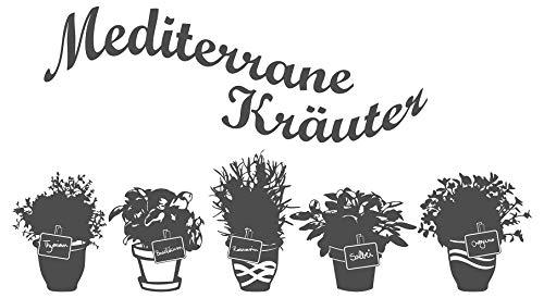 dekodino® Wandtattoo Spruch Küche Mediterrane Kräuter mit Töpfen Wanddeko