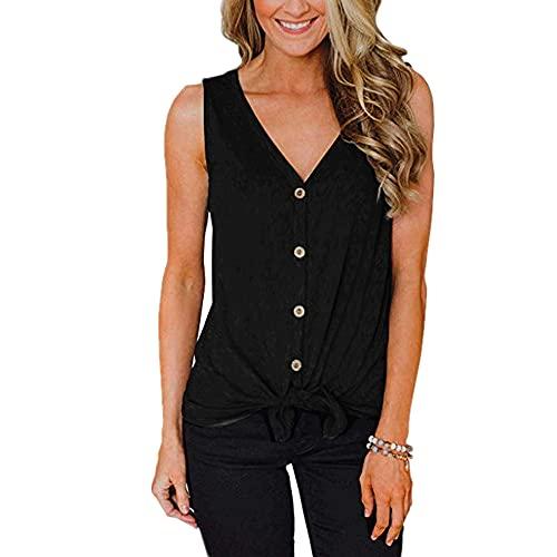 Tops Mujer Comodidad Cuello En V Personalidad Dobladillo Diseño Exquisitos Botones Mujer Camisa Moda Simple Transpirable Casual Playa De Arena Vacaciones Mujer Blusa A-Black 3XL