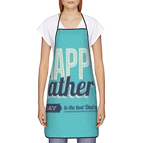 Feliz Día del Padre Lindo Delantales de Cocina Otoño Invierno Delantal para Cocinar Hornear 20.5 × 28.3
