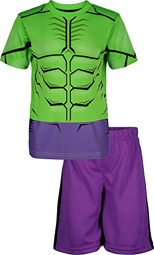 Marvel Avengers Hulk Little Boys' Athletic T-Shirt & Mesh Shorts Set, Green/Purple (5)