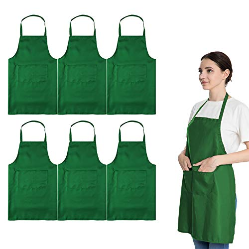 LOYHUANG Total 6PCS Green Plain Color Bib Apron for Adult Women Unisex Durable Comfortable with 2 Front Pockets Washable Aprons for Chef Cooking Baking Kitchen Restaurant Crafting
