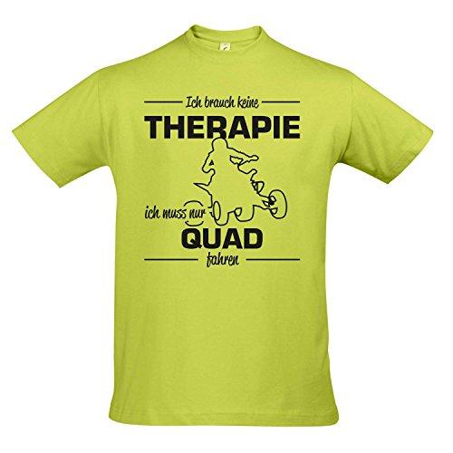 T-Shirt - Therapie - Quad - Sport Fun Kult Shirts S-XXL, Apple Green - schwarz, L