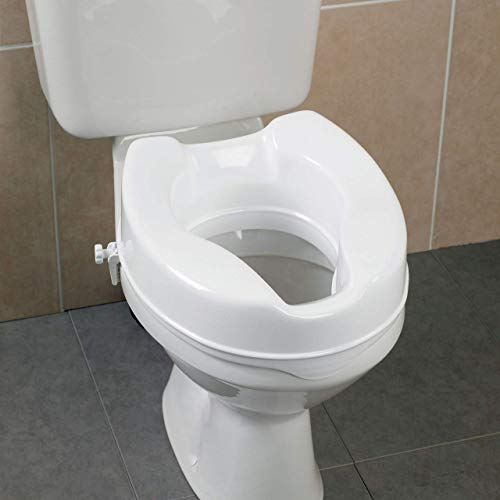 Raised Toilet Seat by HEALTHLINE, Elevated Hinged Toilet Seat Riser for Elderly and Seniors, Round Elongated, Plastic, Portable, Extra Wide, White, 4 inch