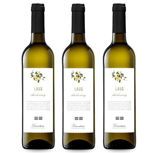 LAUS Chardonnay, Vino Blanco - Añada 2020 - D.O. Somontano - Paquete de 3 Botellas, 75cl -Potente y Fresco - Elaborado con variedad Chardonnay - Elegante Aroma Frutal
