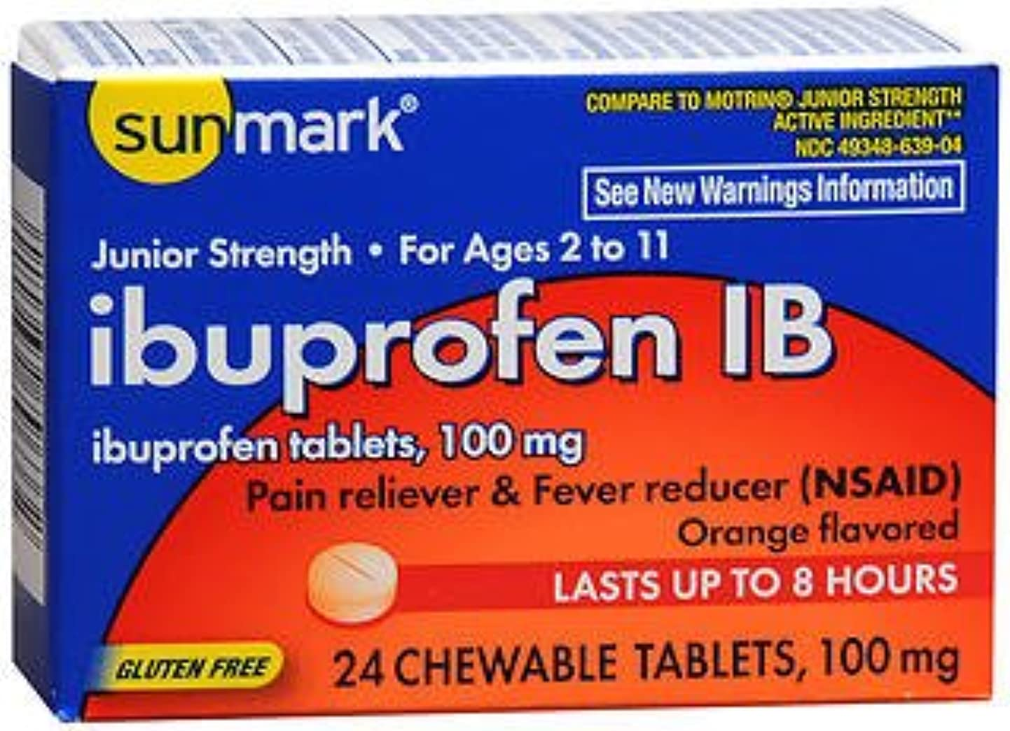 Sunmark Ibuprofen IB 100 mg Chewable Tablets - 24 ct, Pack of 3 hwriwrzfbfc0