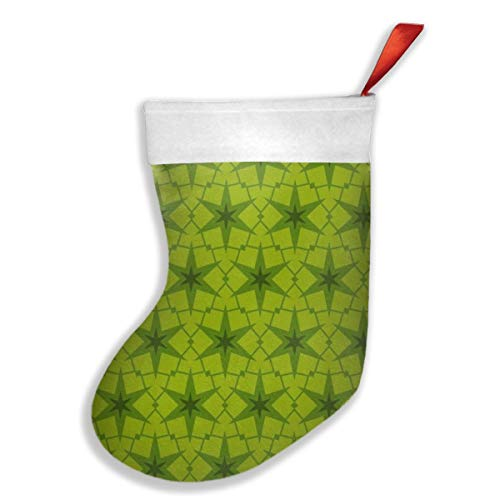 OUYouDeFangA Weihnachtsstrümpfe, grüne Wellenmuster, Weihnachtsstrümpfe, Party-Geschenk-Dekoration, Süßigkeiten-Socken, hängendes Zubehör