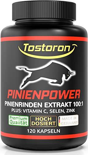 Tostoron Pinienrinden Power - Pinienrindenextrakt 100:1 Kapseln extra stark + hochdosiert - plus Vitamin C, Selen, Zink, 120 Kapseln, 1 Dose (1 x 87,1 g) hol dir den TOSTORON HAMMER direkt nach Hause!