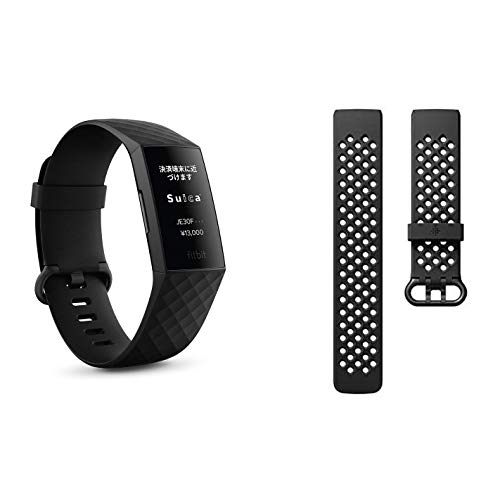 Band Set [Suica Compatible] Fitbit Charge 4 Fitness Tracker with GPS Black/Black L/S [Genuine Japanese Product] + Sports Wristband Black L Size