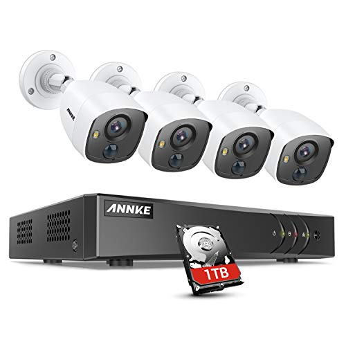ANNKE S300 8CH H.265+ Security Camera System 5MP Lite DVR with 1TB Hard Drive, 4×1080P PIR CCTV Camera for Outdoor Indoor Use, White Light Alarm, Email Alert with Snapshots, IP67 Weatherproof