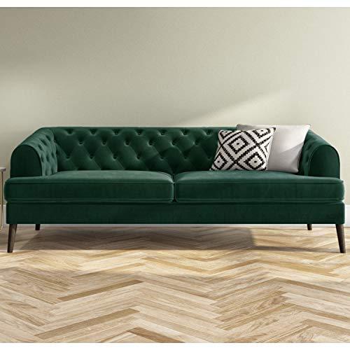 Inez Dark Green Velvet 3 Seater Chesterfield Sofa