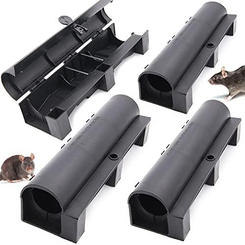 4 boîtes pour appâts anti rats + Ebook | Poste d'appâtage professionnel pour pose de poison rodenticide | piege pour raticide pour l'intérieur et l'extérieur | mort aux rats | Boite pour dératisation