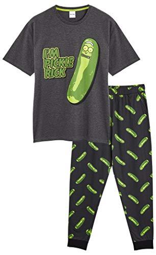 Rick and Morty Schlafanzug Herren, Baumwolle Nachtwäsche Herren, Zweiteiliger Pyjama Anzug Männer und Jungen, T Shirt mit Lange Schlafhosen, Geschenke für Männer (Grau/Gün Pickle, L)
