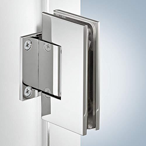 Gedotec douchedeurband rechte glasdeurband glasdeurbeslag deurband VITA-A voor glazen deuren en douches met automatische sluiting, voor glasdikte 8-12 mm, openingshoek 90°, messing verchroomd gepolijst, 1 stuk modern 1 Stück Messing Verchromt Poliert