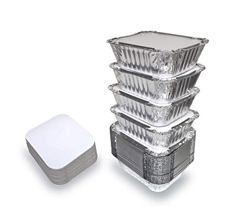 55 Pack – Aluminum Pan/Containers with Lids/Foil Containers/Aluminum Pans with Lids/Take Out Containers/Disposable Pans/Aluminum Foil Food Containers/Freezer meals containers (1 LB)