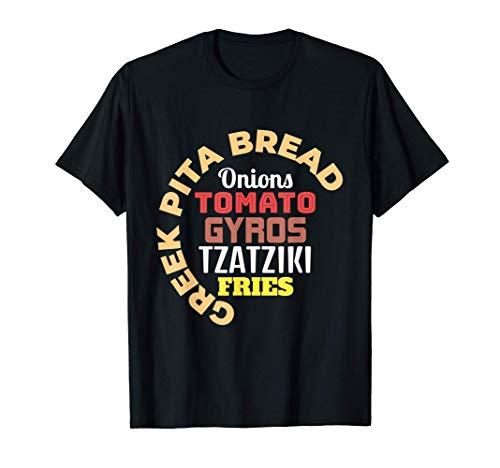 Griechische Pita Brot Zwiebeln Tomaten-Gyros Tzatziki Pommes T-Shirt