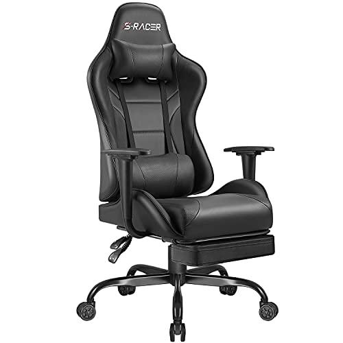 Homall Gaming Stuhl Gamer Stuhl mit Fußstütze Ergonomischer Zocker Stuhl Racing Schreibtischstuhl Höhenverstellbarer Computerstuhl Pc Stuhl (Schwarz)