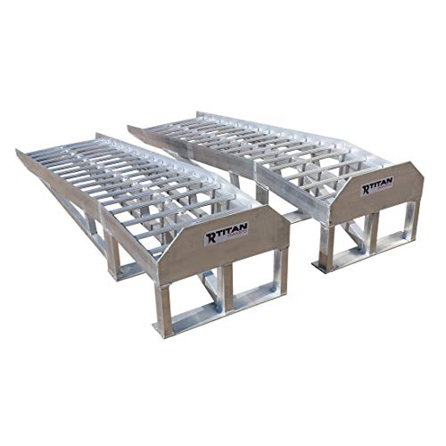 Titan Ramps Low Profile Aluminum Car Ramps Pair 3,000 LB Capacity for Oil Change