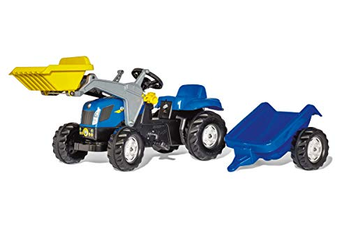 ROLLY TOYS- Trattore a Pedali Kid New Holland T7550 con Ruspa e Rimorchio, 023929