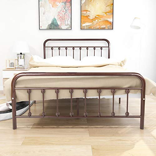 Dark Copper Metal Platform Bed Box Spring Replacement...