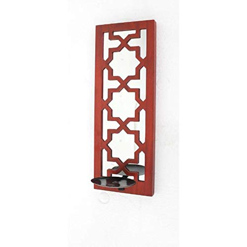 HomeRoots Decor Traditional Mirrored Red Candle Holder Sconce