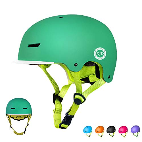 XJD Toddler Helmet Kids Bike Helmet CPSC Certified Adjustable Bicycle Helmet Kids Cycling Helmet Safety Helmet Skateboard Longboard Roller Skate Inline Skating Scooter 3-8 Years Old Helmet (Green, S)