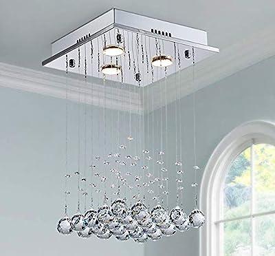 Saint Mossi Chandelier Modern K9 Crystal Raindrop Chandelier Lighting Flush Mount LED Ceiling Light Fixture Pendant Lamp for Dining Room Bathroom Bedroom LivingroomGU10 Bulbs Required H18 X W12 X L12