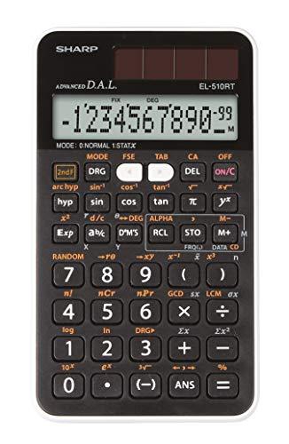 Sharp EL-510-RT Wissenschaftlicher Schulrechner (D.A.L.-Eingabe, Solar-/Batteriebetrieben) weiß/schwarz