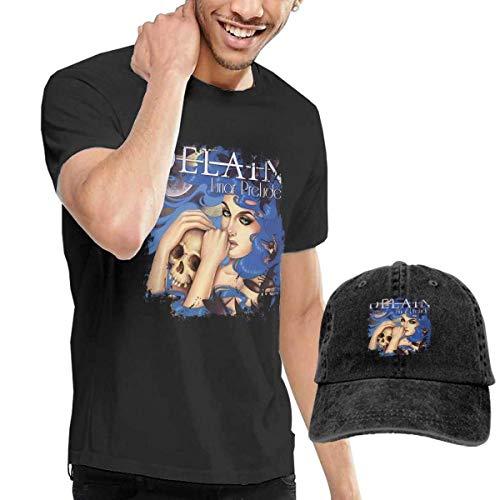 AYYUCY Herren Kurzarmshirt Dingtai Delain - Lunar Prelude Ep Men's Short Sleeve T Shirt and Adult Washed Cowboy Hat