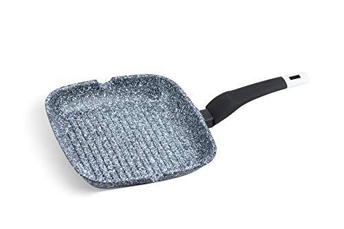 Grillpfanne aus Aluminium mit einer Schicht aus Keramikmarmor bedeckt. Grillpfanne Induktion 24 x 24 cm passt auch für Gas- und Elektroherde.