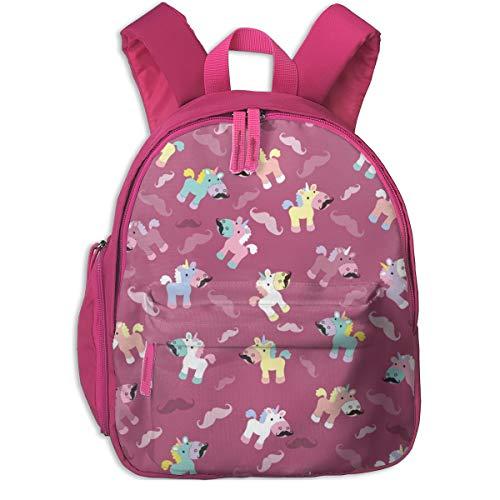 Zaino per bambini 2 anni,Mustachio Unicornio_2921 - lyddiedoodles, Per le scuole per bambini Oxford cloth (rosa)